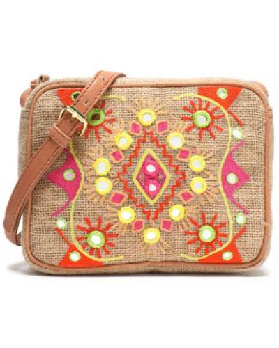 Embroidered canvas shoulder bag