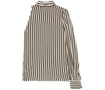 One-shoulder pritned silk crepe de chine top