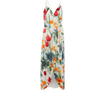 Susana Wrap-effect Floral-print Fil Coupé Chiffon Maxi Dress Off-white