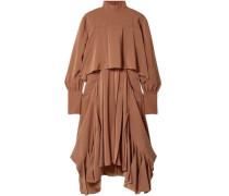 Woman Asymmetric Pleated Silk Crepe De Chine Turtleneck Dress Camel