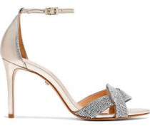 Jolita Crystal-embellished Metallic Leather Sandals Gold