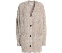 Marled ribbed-knit cardigan