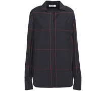 Woman Embroidered Checked Wool And Mohair-blend Shirt Midnight Blue