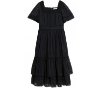 Tiered Broderie Anglaise Cotton Midi Dress Black