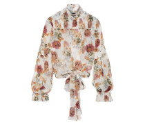 Woman Tie-front Floral-print Shirred Silk-chiffon Blouse White