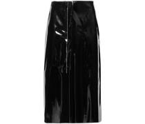 Woman Faux Patent-leather Midi Skirt Black