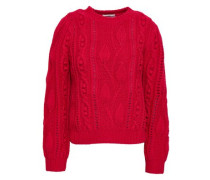 Woman Cable-knit Wool And Cashmere-blend Sweater Crimson