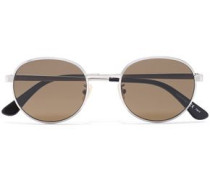 Woman Round-frame Silver-tone Sunglasses Light Brown