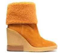 Woman Shearling-paneled Suede Wedge Ankle Boots Camel