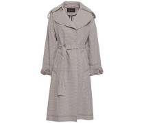 Checked Cotton-blend Jacquard Trench Coat Light Brown