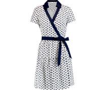 Kaley Wrap-effect Printed Cotton-poplin Dress White Size 12