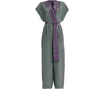 Wrap-effect gingham silk crepe de chine jumpsuit