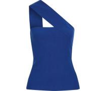 Ceremonial one-shoulder stretch-knit top