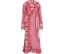 Miranda Embroidered Striped Cotton-gauze Midi Wrap Dress Pink