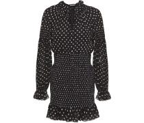 Shirred Polka-dot Silk-crepe Mini Dress