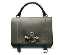 Disc Large Leather And Suede Shoulder Bag Army Green Size --