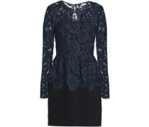 Guipure Lace Peplum Mini Dress Midnight Blue