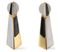 24-karat Gold-plated Color-block Enamel Earrings Stone Size --