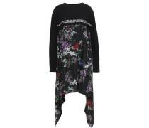 Draped Silk-paneled Embroidered Cotton-jersey Mini Dress Black