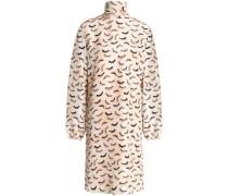 Printed silk crepe de chine turtleneck dress