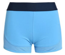 Mesh-paneled Stretch-jersey Shorts Light Blue