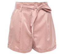 Belted Washed Cotton And Silk-blend Shorts Antique Rose