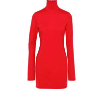 Abigail Stretch-cady Turtleneck Mini Dress Red