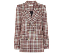 Janey double-breasted checked linen blazer