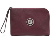 Embellished Leather Pouch Burgundy Size --