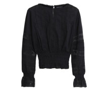 Lace-trimmed shirred cotton-mousseline blouse