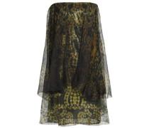 Strapless printed silk-chiffon mini dress