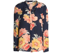Floral-print silk-georgette blouse