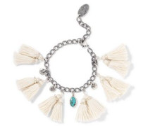 Tasseled silver and turquoise bracelet