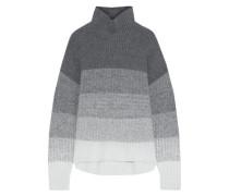 Jenny Color-block Ribbed-knit Turtleneck Sweater Gray