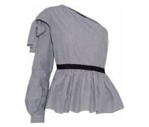 Gracie one-shoulder bow-embellished striped cotton top