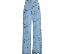 Printed Crepe Wide-leg Pants Blue
