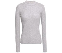Ribbed Cashmere Sweater Light Gray