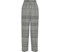 Cropped Checked Wool-blend Wide-leg Pants Black
