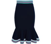 Fluted Stretch-knit Skirt Midnight Blue