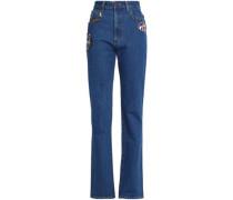 Appliquéd high-rise straight-leg jeans