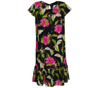Fluted Floral-print Silk-cady Mini Dress Black