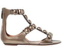 Embellished Metallic Leather Sandals Bronze