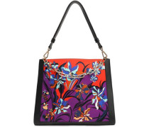 Floral-print Satin And Leather Tote Red Size --