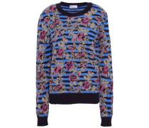 Metallic Jacquard-knit Sweater Blue