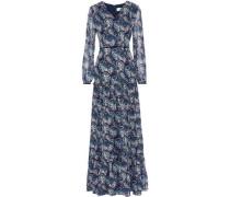 Velvet-trimmed Printed Chiffon Maxi Dress Navy