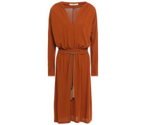 Belted Crepe-jersey Dress Tan