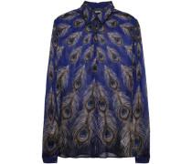 Printed Silk-voile Blouse Royal Blue
