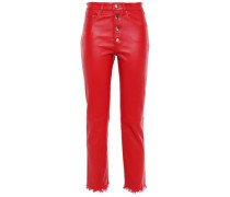 Leather Straight-leg Pants Red  7