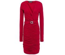 Belted Ruched Crepe-jersey Dress Claret