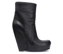 Textured-leather wedge ankle boots